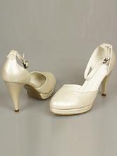 полуоткрытые свадебные туфли цвета айвори на открытой платформе