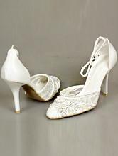 полуоткрытые кружевные свадебные туфли цвета айвори с серебристыми стразами