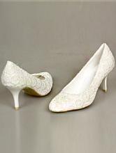 свадебные туфли цвета айвори с поверхностью, имитирующей кружево