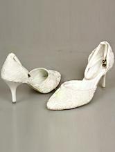 полуоткрытые молочные свадебные туфли из материала, имитирующего кружево