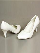 белые классические туфли на среднем каблуке