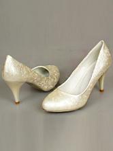 туфли цвета айвори (шампань, светло-бежевый) на среднем каблуке с рифлением
