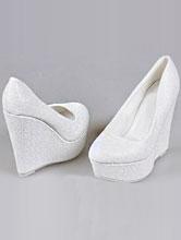 свадебные туфли молочного цвета на высокой танкетке с ремешком, цена, фото
