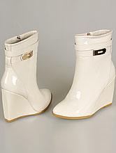 свадебная обувь, свадебные сапоги светло-бежевого (айвори, кремовый, шампань) цвета на танкетке, фото, цена