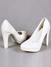 белые туфли с устойчивым каблуком на небольшой открытой платформе