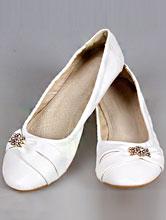 свадебная обувь, балетки с золотистой брошью