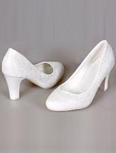 купить свадебные туфли на толстом устойчивом каблуке молочного цвета