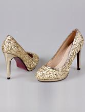 кружевные золотистые туфли на открытой платформе, фото, цена