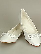 свадебная обувь, белые женские балетки с бантиком