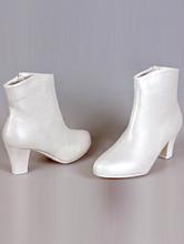 свадебная обувь, купить сапоги цвета айвори на маленьком устойчивом каблуке